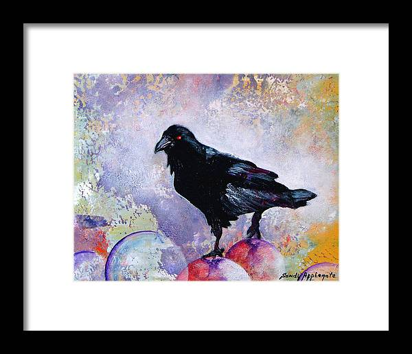 Raven Framed Print featuring the painting The Stillness Gave No Token by Sandy Applegate