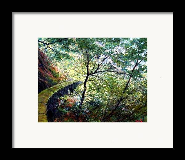 Pastel Framed Print featuring the painting The Stone Wall by Jim Gola
