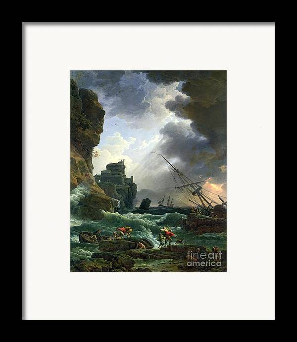 Storm Framed Print featuring the painting The Storm by Claude Joseph Vernet