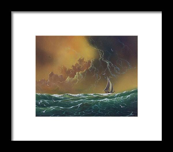 Seascape Framed Print featuring the painting The Storm by Don Griffiths
