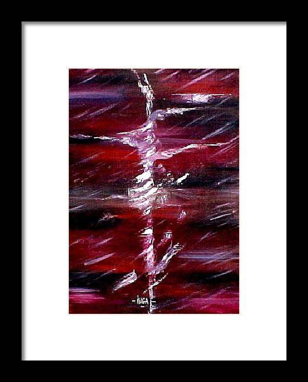 Abstract Framed Print featuring the painting The Storm by Inga Vereshchagina