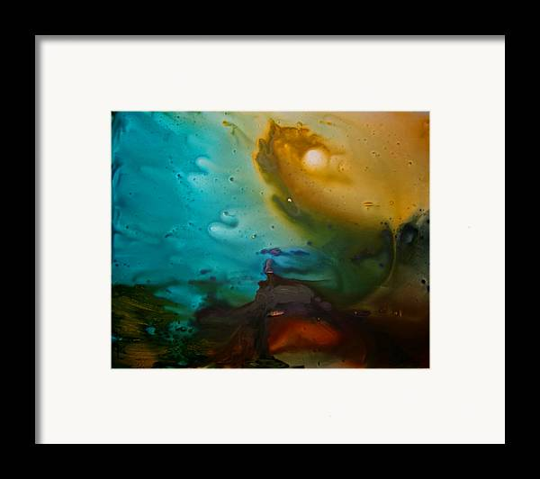Acrylic Abstract Yupo Turqoise Yellow Red Black Purple Water Storm Framed Print featuring the painting The Storm by Linda Powell