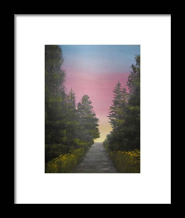 Northwest Landscape Framed Print featuring the painting The Straight And Narrow Path by Terri Warner