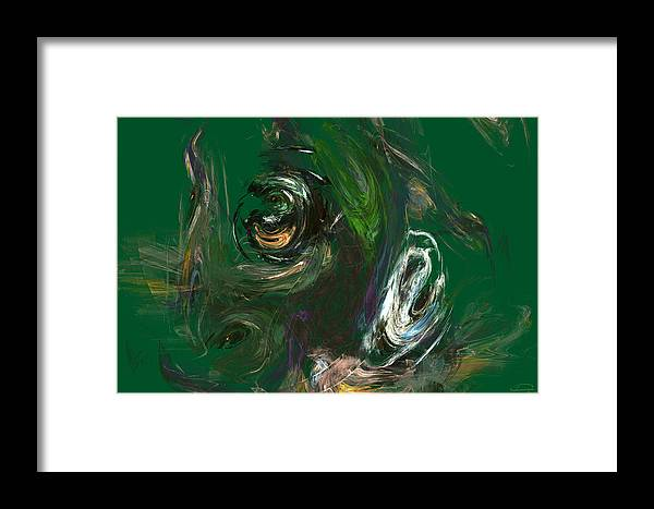 Abstract Framed Print featuring the painting The Strange Flower by Emma Alvarez