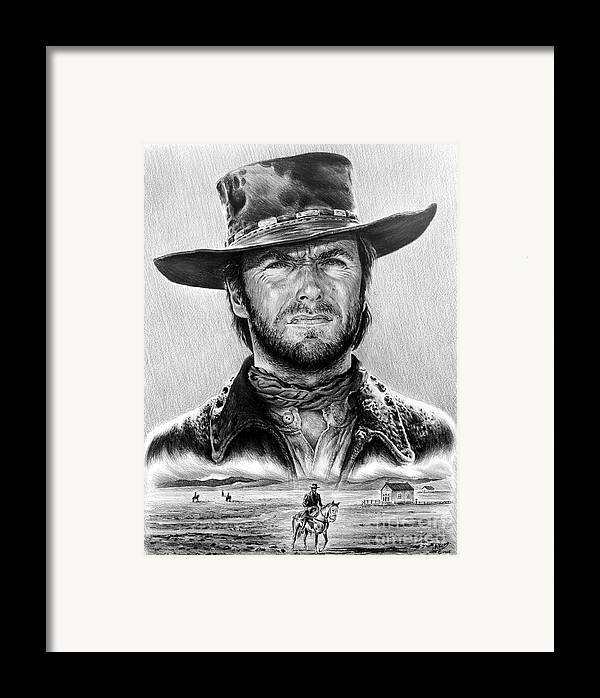 Clint Eastwood Framed Print featuring the drawing The Stranger Bw 1 Version by Andrew Read
