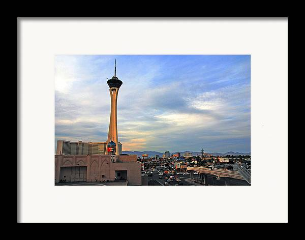 Photography Framed Print featuring the photograph The Stratosphere In Las Vegas by Susanne Van Hulst