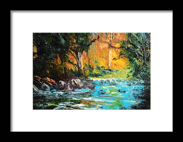 Nature Framed Print featuring the painting The Stream- Pochade by Felix Turner