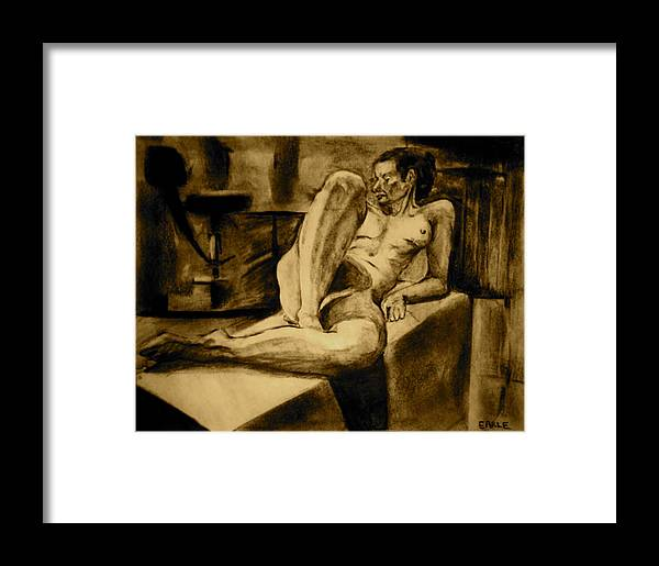 Female Nude Framed Print featuring the painting The Studio by Dan Earle