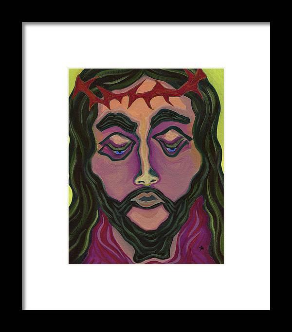 Danielle Tayabas Framed Print featuring the painting The Suffering King by Danielle Tayabas