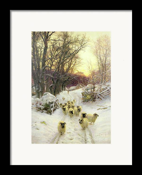 Sunset Framed Print featuring the painting The Sun Had Closed The Winter's Day by Joseph Farquharson