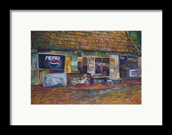 Landscape Framed Print featuring the painting The Sundry Store At Fraiser's Hill by Wendy Chua