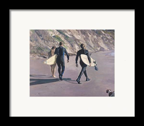 Surfers Framed Print featuring the painting The Surfers by Merle Keller