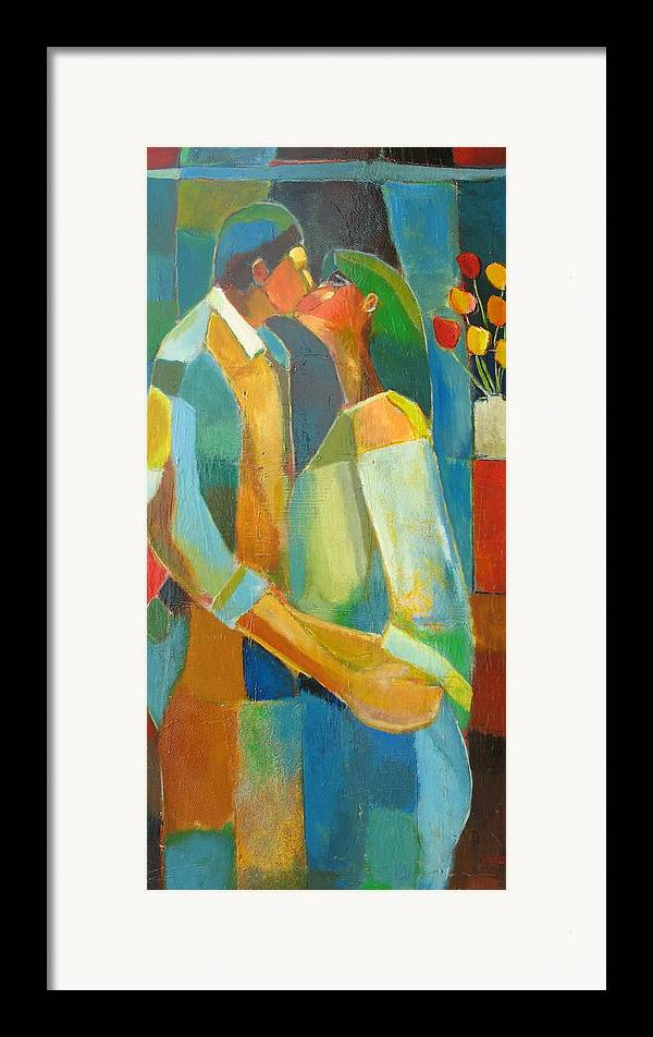 Love Abstract Framed Print featuring the painting The Sweet Kiss by Habib Ayat