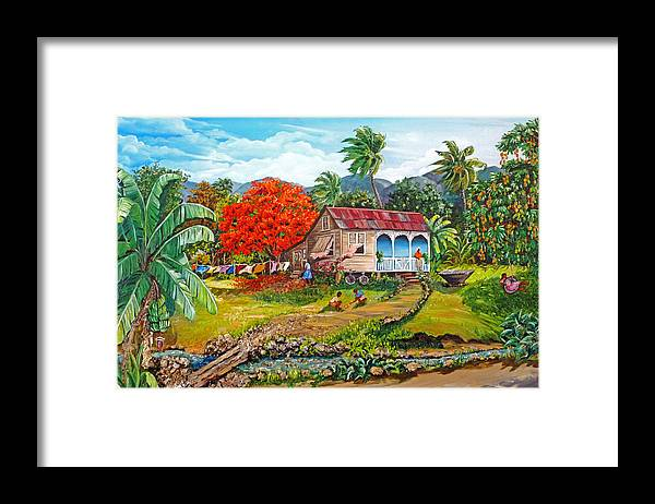 Tropical Scene Caribbean Scene Framed Print featuring the painting The Sweet Life by Karin Dawn Kelshall- Best