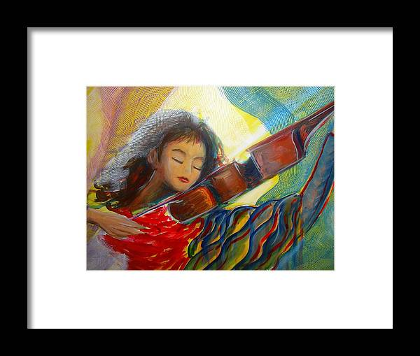 Violin Framed Print featuring the painting The Sweetest Sounds by Regina Walsh