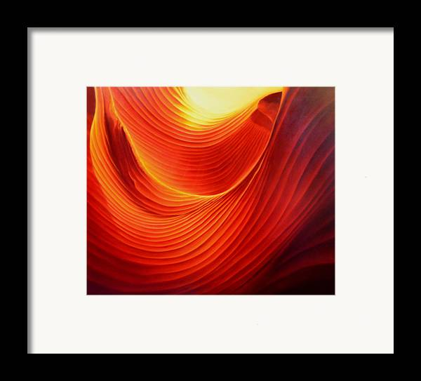 Antelope Canyon Framed Print featuring the painting The Swirl by Anni Adkins
