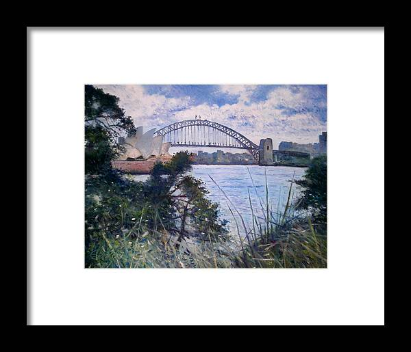 Framed Print featuring the painting The Sydney Opera House And Harbour Bridge. Australia 2007 by Enver Larney