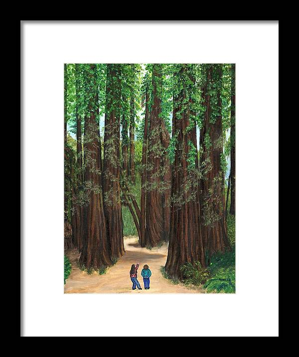 Redwoods Framed Print featuring the painting The Tall and Not to be Cut by Tanna Lee M Wells