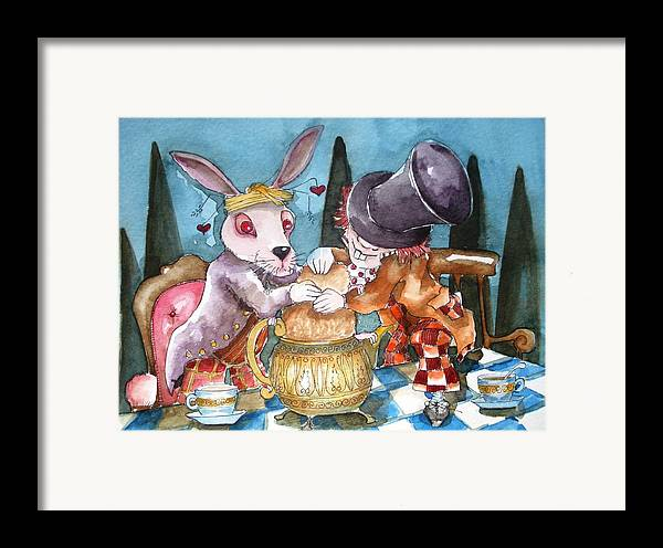 Alice In Wonderland Framed Print featuring the painting The Tea Party by Lucia Stewart
