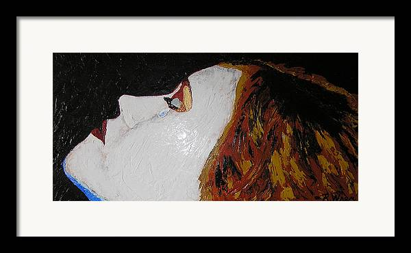 Portrait Framed Print featuring the painting The Tear by Ricklene Wren
