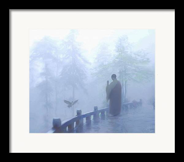 Spiritual. Temple Framed Print featuring the digital art The Temple Calling by Stephen Lucas