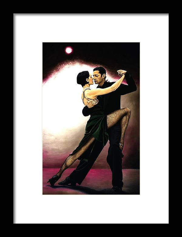 Tango Framed Print featuring the painting The Temptation of Tango by Richard Young