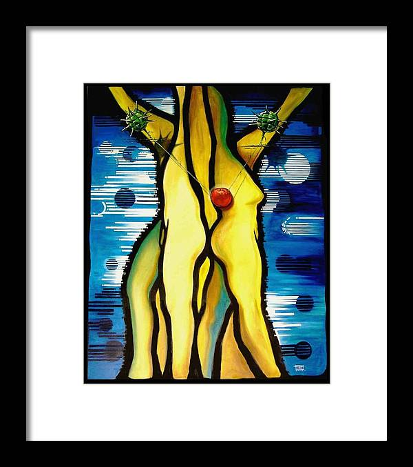 Apple Framed Print featuring the painting The Temptation by Roger Calle