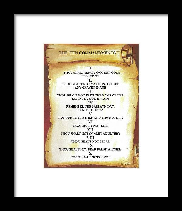 The Ten Commandments On Parchment Scroll Framed Print By Desiderata