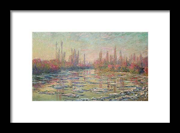 The Thaw On The Seine Framed Print featuring the painting The Thaw On The Seine by Claude Monet