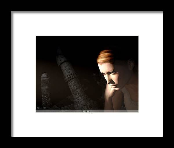 Jim Coe Framed Print featuring the digital art The Thinker by Jim Coe