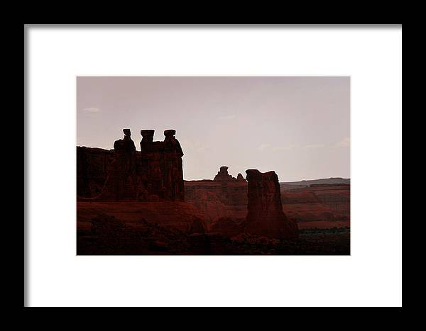 Landscape Framed Print featuring the photograph The Three Gossips Arches National Park Utah by Christine Till