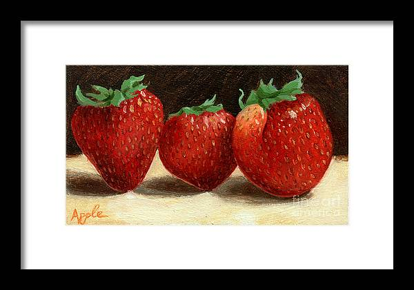 Fruit Artworkpainting Framed Print featuring the painting The Three Graces by Linda Apple