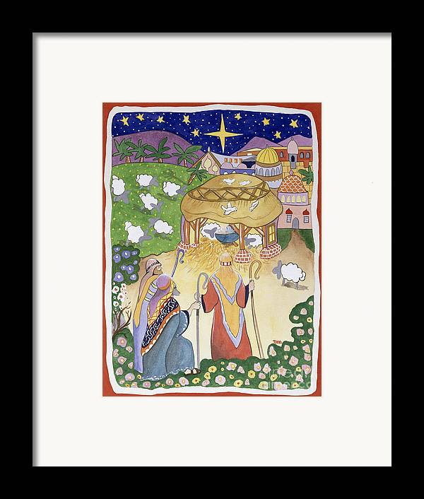 Adoration; Birth Of Jesus Christ; Manger; Bethlehem; Winter; Christmas Card; Flock; Sheep; Shepherd; Crook; Festive; Star; Stable Framed Print featuring the painting The Three Shepherds by Tony Todd