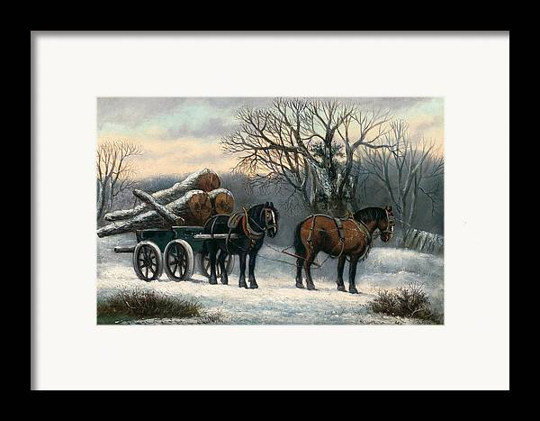 The Framed Print featuring the painting The Timber Wagon In Winter by Anonymous