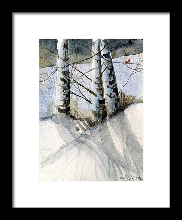 Birches Framed Print featuring the painting The Tiny Bird by Mindy Newman