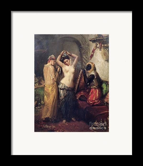 The Framed Print featuring the painting The Toilet In The Seraglio by Theodore Chasseriau