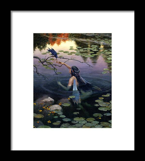 Mermaid Framed Print featuring the painting The Token by Richard Hescox