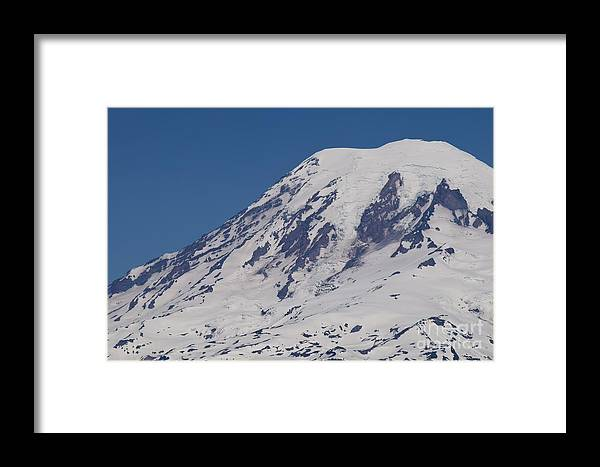 Nature Framed Print featuring the photograph The Top Of Mount Rainier by LKB Art and Photography
