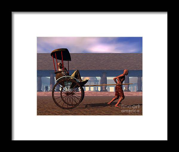 Portraits Framed Print featuring the digital art The Tourist And The Runner by Walter Neal
