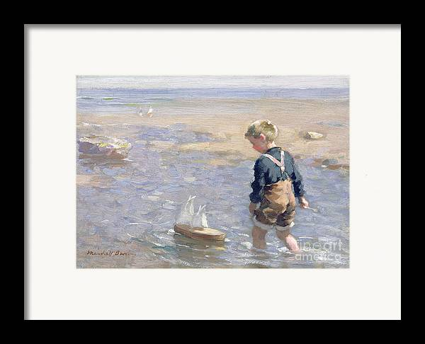 Boy; Child; Sea; Paddling; Beach; Sail Framed Print featuring the painting The Toy Boat by William Marshall Brown