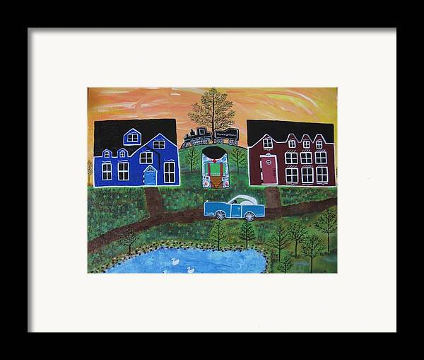 Folk Art Village With Car Framed Print featuring the painting The Train At Galakendra's Elm by Mike Filippello