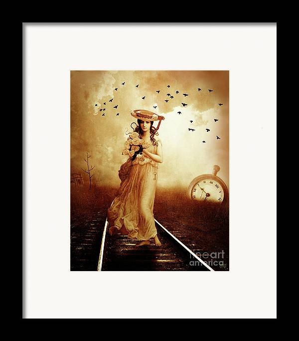 Victorian Woman Framed Print featuring the mixed media The Train Never Came by KaFra Art