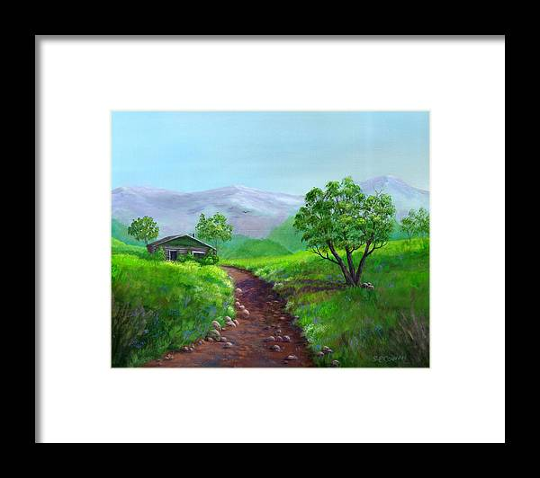 Landscape Framed Print featuring the painting The Trappers Cabin by SueEllen Cowan