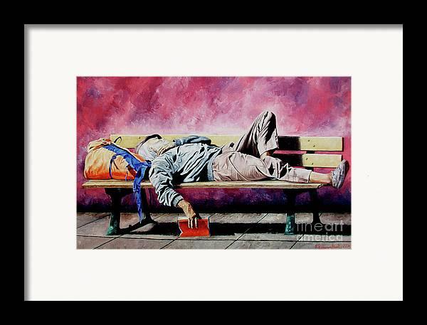 Figurative Framed Print featuring the painting The Traveler 1 - El Viajero 1 by Rezzan Erguvan-Onal
