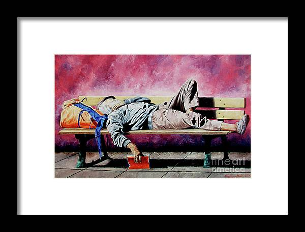 Figurative Framed Print featuring the painting The Traveler 1 - El Viajero 1 by Rezzan Erguvan-Onal