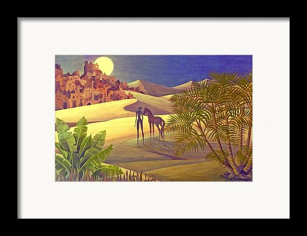 Desert Moon Ancient City Horse Quest Jungle Mystery Framed Print featuring the painting The Traveller by Jennifer Baird