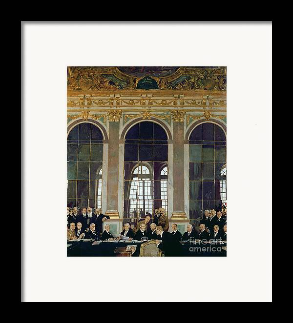The Treaty Of Versailles Framed Print featuring the painting The Treaty Of Versailles by Sir William Orpen