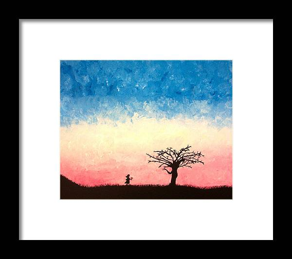 Child Framed Print featuring the painting The Tree by Jennifer Hernandez