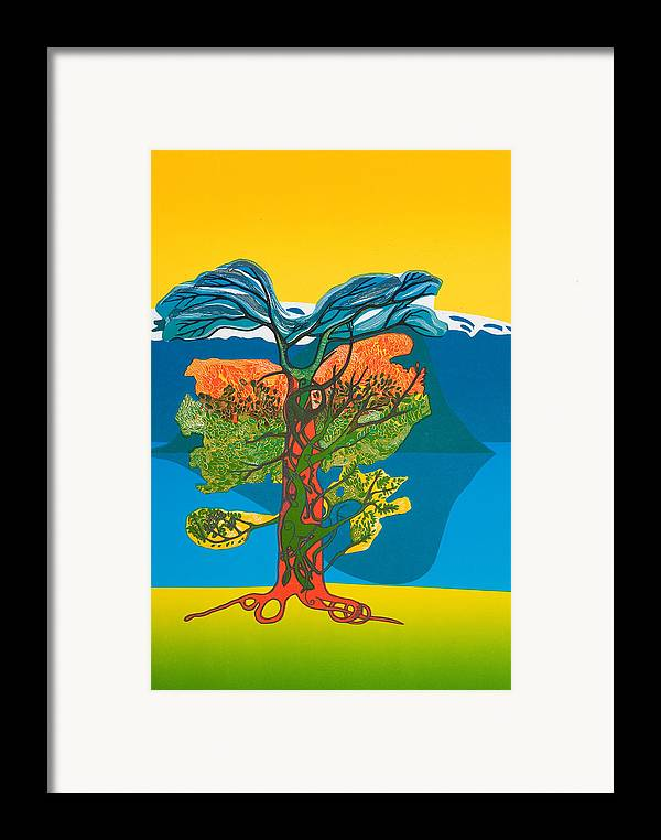 Landscape Framed Print featuring the mixed media The Tree Of Life. From The Viking Saga. by Jarle Rosseland