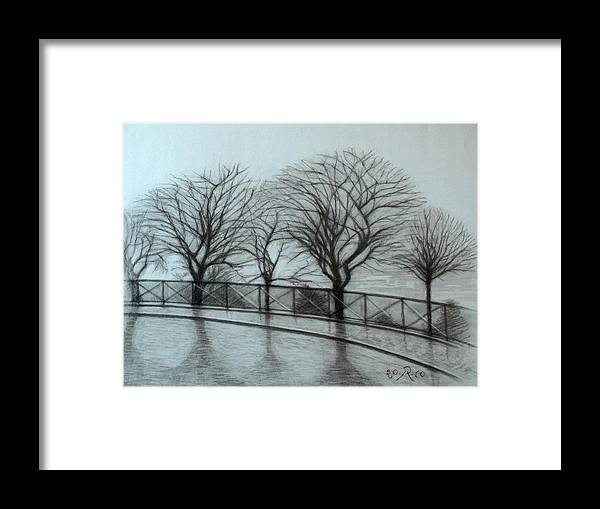 Paris Framed Print featuring the drawing The trees by Sacre-Coeur in Montmartre by Raimonda Jatkeviciute-Kasparaviciene